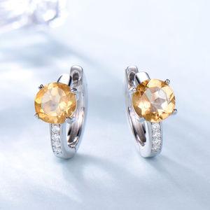Natural Citrine Clip Clip Earrings For Women